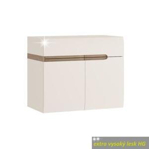TEMPO KONDELA Skrinka s keramickým umývadlom, biela extra vysoký lesk HG/dub sonoma truflový, LYNATET TYP 150