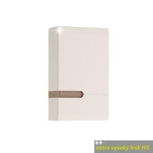 TEMPO KONDELA Horná skrinka 1D, biela extra vysoký lesk HG/dub sonoma truflový, pravá, LYNATET TYP 157