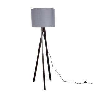 TEMPO KONDELA Stojacia lampa, sivá/drevo čierne, LILA TYP 10 LS6062
