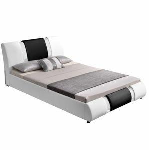 TEMPO KONDELA Moderná posteľ, biela/čierna, 160x200, LUXOR