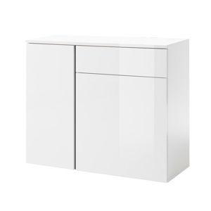TEMPO KONDELA Komoda 3, biela/biely lesk/sivá, RADAL 1Z2D