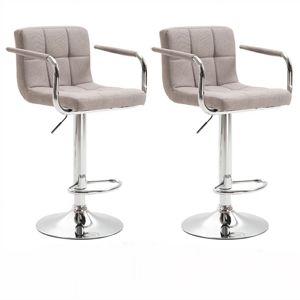 TEMPO KONDELA 2 kusy, barová stolička, sivohnedá taupe látka/chróm, LEORA 2 NEW