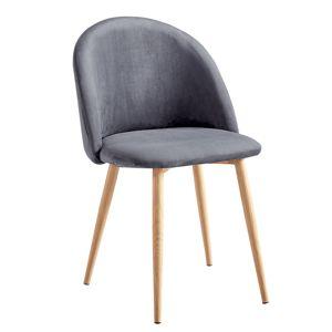 TEMPO KONDELA Jedálenská stolička, svetlosivá Velvet látka, FLUFFY