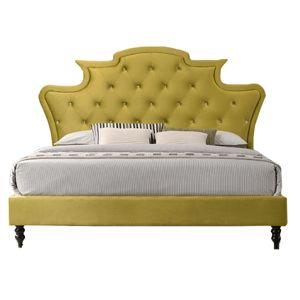 TEMPO KONDELA Luxusná posteľ, zlatá Velvet látka, 160x200, REINA