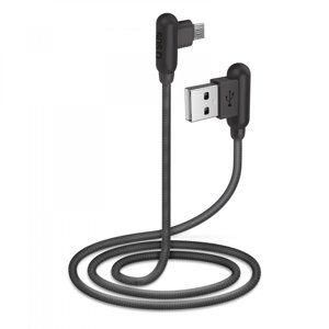 SBS - Kábe,l USB/Micro-USB s kovovými konektormi 90°, dĺžka 1 m, čierna