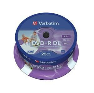 VERBATIM DVD+R(25-pack)/Spindle Double Layer 8X 8.5GB Inkjet Printable