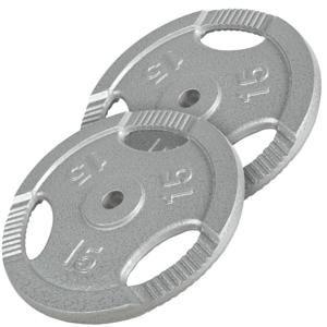 Gorilla Sports set liatinových kotúčov GRIP 30 KG(2 x 15 kg)/ 31 mm