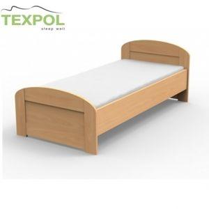 Masívna posteľ PETRA s oblým čelom pri nohách 210 x 120 cm BUK morenie čerešňa