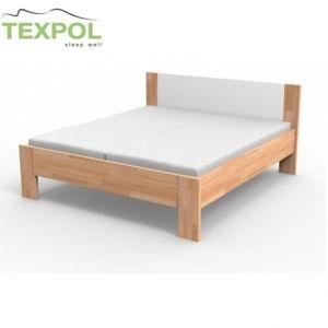Kvalitná masívna posteľ  NIKOLETA - čalúnené čelo 210 x 200 cm BUK prírodný