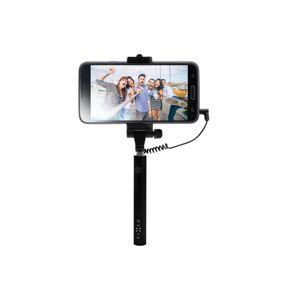 Kompaktný selfie stick FIXED Snap Mini, spúšť cez 3,5 mm jack, čierny