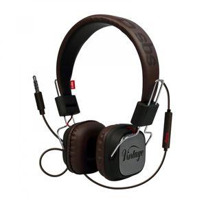 SBS - Slúchadlá DJ Vintage s mikrofónom, čierna