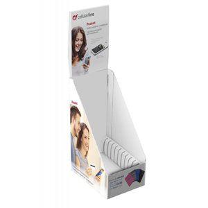 Prodejní papierový stojanček s 10 ks samolepiacich vreciek na mobilný telefón, 4 farby