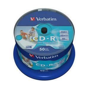 Médium Verbatim CD-R 700MB 80min 52x Crystal WIDE Printable 50-cake