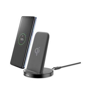 Stojánek pro bezrátové nabíjení Cellularline Wireless Fast Charger Stand + Fast Charge adaptér 10W, Qi standard, černý
