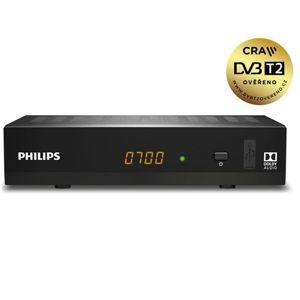 PHILIPS DVB-T/T2 přijímač DTR3502BFTA/ Full HD/ H.265/HEVC/ CRA ověřeno/ PVR/ EPG/ USB/ HDMI/ LAN/ SCART/ černý