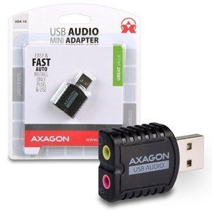 AXAGON ADA-10, Stereo Audio Mini adaptér, USB2.0