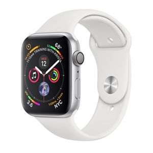 APPLE WATCH SERIES 4 GPS, 44MM SILVER ALUMINUM CASE WITH WHITE SPORT BAND, MU6A2VR/A vystavený kus