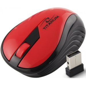 Titanum TM114R RAINBOW bezdrôtová optická myš, 1000 DPI, 2.4GHz, 3D, červená