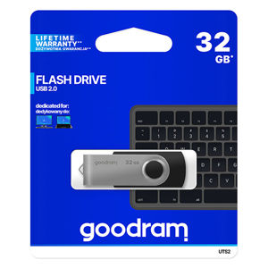 Goodram USB flash disk, 2.0, 32GB, UTS2, čierny, UTS2-0320K0R11, podpora OS Win 7