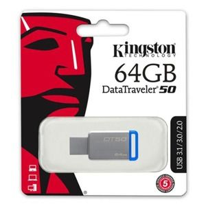 Kingston USB flash disk, 3.0, 64GB, DataTraveler DT50, modrý, DT50/64GB