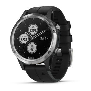 GARMIN FENIX 5 PLUS, SILVER, BLACK BAND 010-01988-11