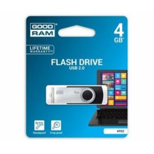GOODRAM USB FLASH DISK, 2.0, 4GB, CIERNY, PODPORA OS WIN 7, UTS2-0040K0R11