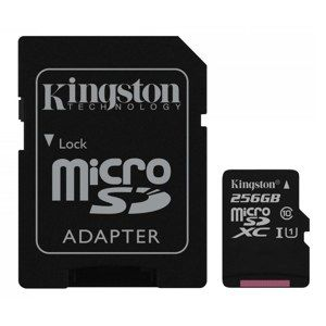 KINGSTON 256GB MICROSDXC CANVAS CLASS 10 UHS-I 80MB/S READ CARD + SD ADAPTER, SDCS/256GB