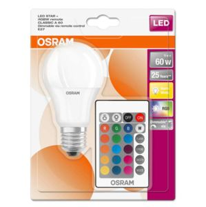 OSRAM LED STAR+ CL A RGBWFR 60 DIMMABLE VIA REMOTE CONTROL 9W/827 E27