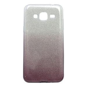 Gumené puzdro Samsung Galaxy J3 2016, fialové, trblietky