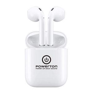 Powerton bezdrôtové bluetooth slúchadlá WPBTE01, s nabíjecí krabičkou, mikrofón, biela, Airpods style, Pop-Up funkce športová