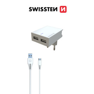 SWISSTEN SIETOVY ADAPTER SMART IC 2X USB 3A POWER + DATOVY KABEL USB/USB-C 1,2 M BIELY