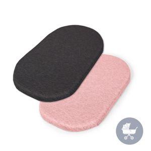CEBA Plachta do kočíku 73-80 x 30-37 cm 2 ks Dark Grey+Pink